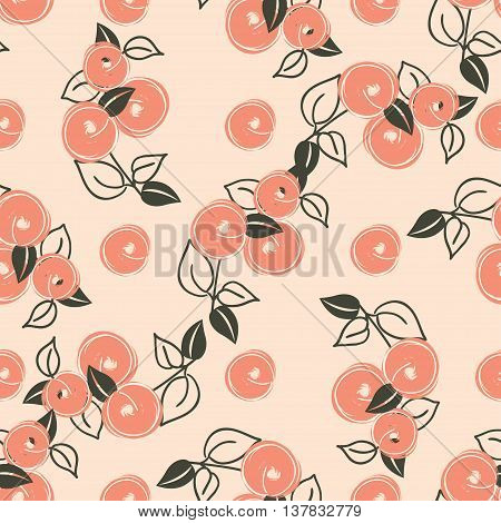 seamless pattern with stylization branches of peach. Vector illustration for textile - pillow t-shirts towels cushions covers your print designs wallpapers banners backgrounds packaging