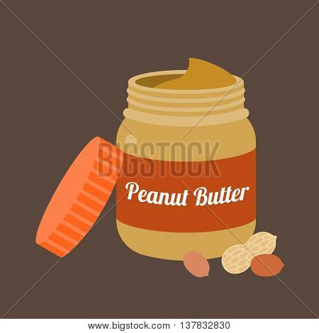 Peanut butter vector, flat design on brown background