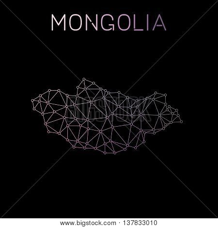 Mongolia Network Map. Abstract Polygonal Map Design. Network Connections Vector Illustration.