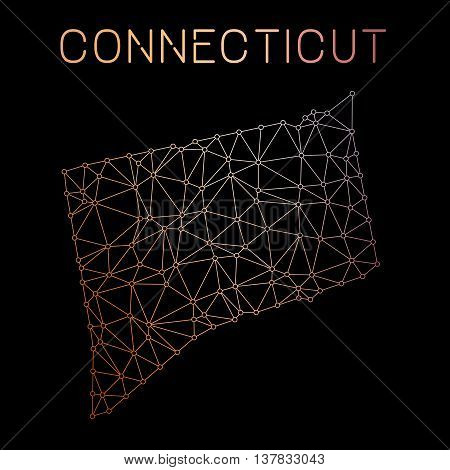 Connecticut Network Map. Abstract Polygonal Us State Map Design. Network Connections Vector Illustra
