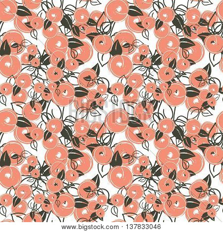 seamless pattern with stylization branches of peach. Vector illustration for textile - pillow, t-shirts, towels, cushions, covers, your print designs, wallpapers, banners, backgrounds, packaging