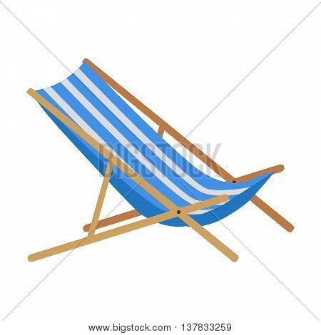 Flat design simple blue white stripes summer beach sunbed lounger chair wood isolated on white. Vector illustration