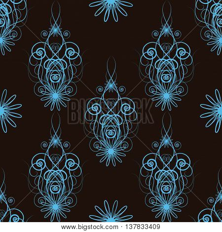 Seamless floral blue abstract pattern with swirls and flowers on black background. Design for wallpapers, textile, packaging, wedding design, healthy card and greeting