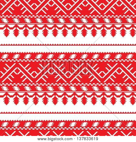 seamless horizontal pattern with old ethnic traditional belarusian, slavic, ukranian ornate. Vector background. Design for fabric, textile, wallpaper, packaging, clothes