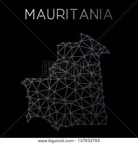 Mauritania Network Map. Abstract Polygonal Map Design. Network Connections Vector Illustration.