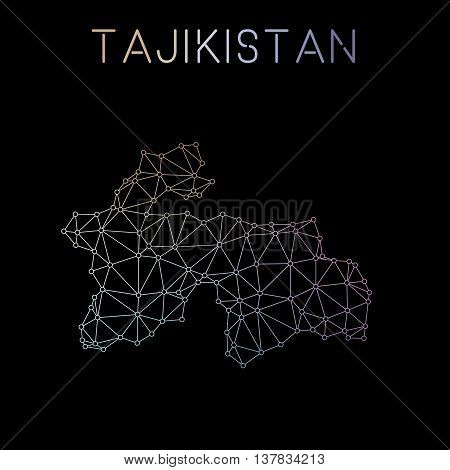 Tajikistan Network Map. Abstract Polygonal Map Design. Network Connections Vector Illustration.