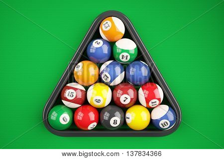 Pyramid Balls Pool Billiard On Green Table. Top View. 3D Illustration