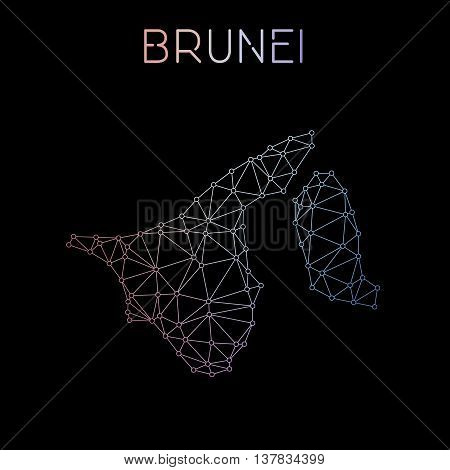 Brunei Darussalam Network Map. Abstract Polygonal Map Design. Network Connections Vector Illustratio