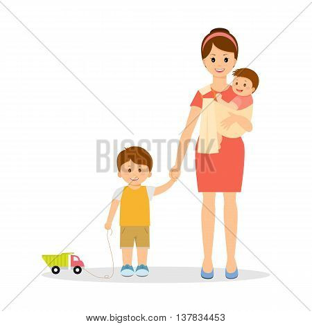Smiling mother with two children.Mother hold her baby in sling ring. Mother hold son hand .A boy with a car.Cartoon style.Motherhood.Isolated on white background.Vector illustration