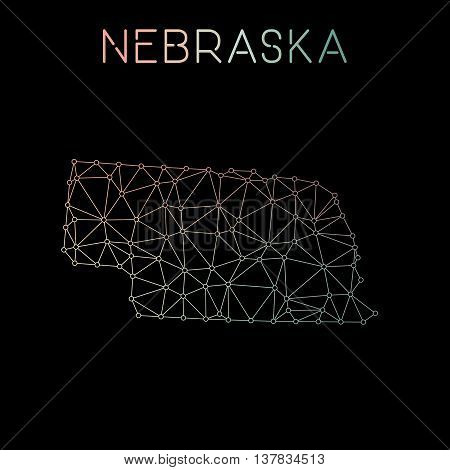 Nebraska Network Map. Abstract Polygonal Us State Map Design. Network Connections Vector Illustratio