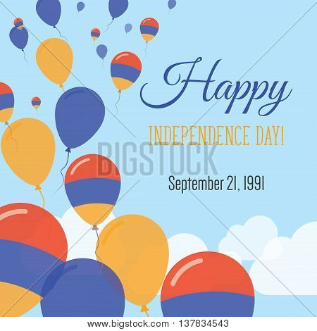 Independence Day Flat Greeting Card. Armenia Independence Day. Armenian Flag Balloons Patriotic Post