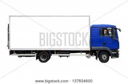 Blank blue and white truck isolated on a white background