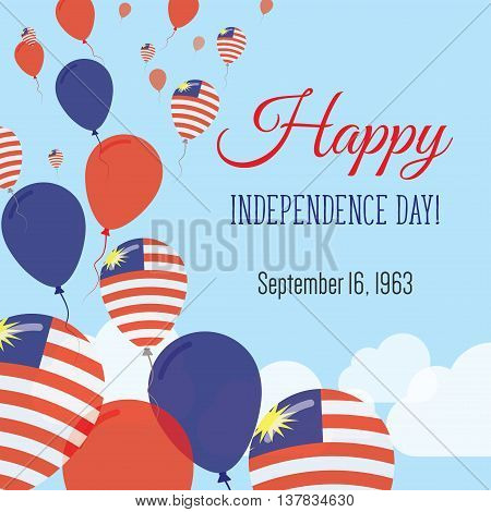 Independence Day Flat Greeting Card. Malaysia Independence Day. Malaysian Flag Balloons Patriotic Po