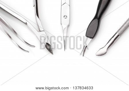 Tools of a manicure set on a white background. Studio shot