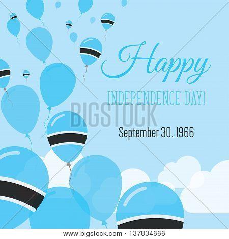 Independence Day Flat Greeting Card. Botswana Independence Day. Motswana Flag Balloons Patriotic Pos