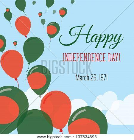 Independence Day Flat Greeting Card. Bangladesh Independence Day. Bangladeshi Flag Balloons Patrioti