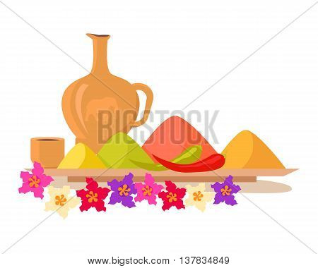 Exotic food concept. Variety of spices and oils on wooden tray with flowers illustration. Chili peppers and hot spices flat style design vector. Isolated on white background.