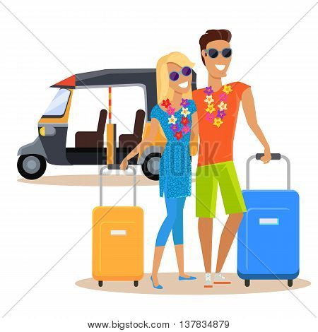People traveling together during summer vacation vector flat design. Honeymoon in exotic countries concept. Young man and woman with necklace of flowers embracing and holding suitcases near moto taxi.