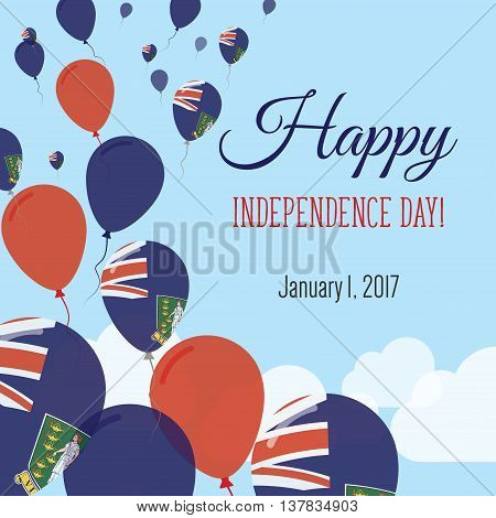Independence Day Flat Greeting Card. Virgin Islands, British Independence Day. Virgin Islander Flag