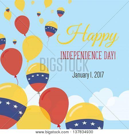 Independence Day Flat Greeting Card. Venezuela, Bolivarian Republic Of Independence Day. Venezuelan