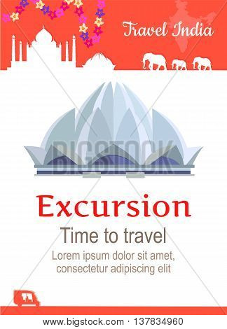 Travel India conceptual poster in flat style design. Summer vacation in exotic countries illustration. Journey to India vector template. Excursions to famous historical attractions concept.