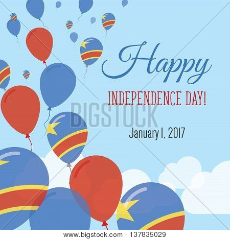 Independence Day Flat Greeting Card. Congo, The Democratic Republic Of The Independence Day. Congole