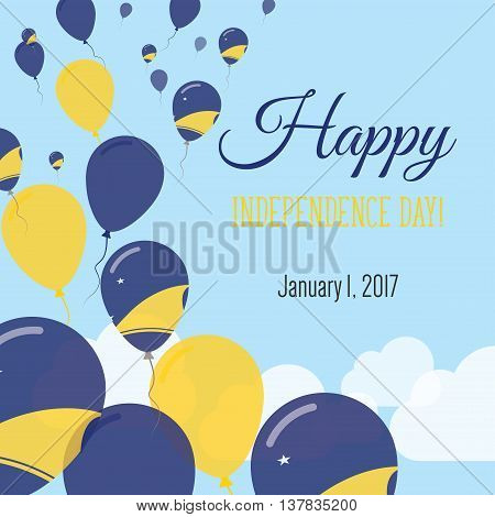 Independence Day Flat Greeting Card. Tokelau Independence Day. Tokelauan Flag Balloons Patriotic Pos