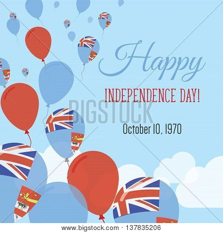 Independence Day Flat Greeting Card. Fiji Independence Day. Fijian Flag Balloons Patriotic Poster. H