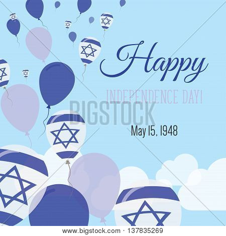 Independence Day Flat Greeting Card. Israel Independence Day. Israeli Flag Balloons Patriotic Poster