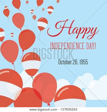 Independence Day Flat Greeting Card. Austria Independence Day. Austrian Flag Balloons Patriotic Post