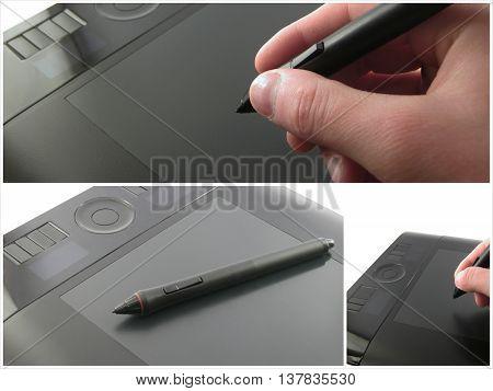 Graphic Designer Using Graphic Tablet