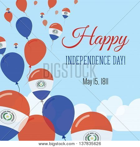Independence Day Flat Greeting Card. Paraguay Independence Day. Paraguayan Flag Balloons Patriotic P