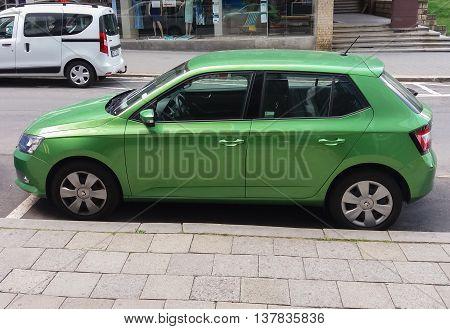 Light Green Skoda Fabia Car In Prague