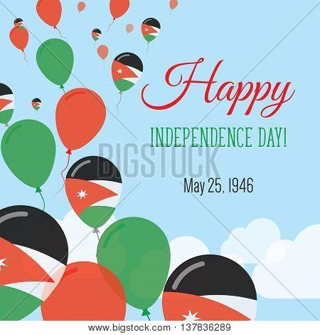 Independence Day Flat Greeting Card. Jordan Independence Day. Jordanian Flag Balloons Patriotic Post