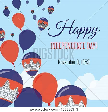 Independence Day Flat Greeting Card. Cambodia Independence Day. Cambodian Flag Balloons Patriotic Po