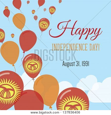 Independence Day Flat Greeting Card. Kyrgyzstan Independence Day. Kirghiz Flag Balloons Patriotic Po