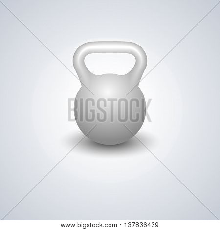 Realistic kettlebell isolated on white background design elements sports equipment for the gym vector illustration.