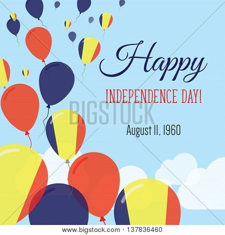 Independence Day Flat Greeting Card. Chad Independence Day. Chadian Flag Balloons Patriotic Poster.