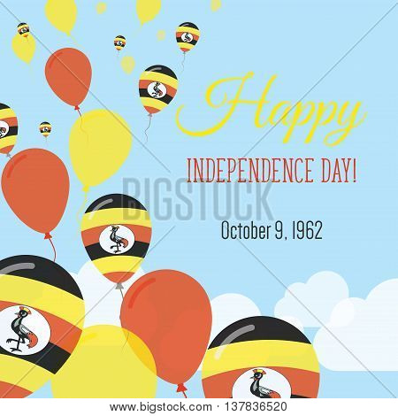Independence Day Flat Greeting Card. Uganda Independence Day. Ugandan Flag Balloons Patriotic Poster