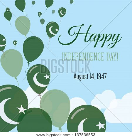 Independence Day Flat Greeting Card. Pakistan Independence Day. Pakistani Flag Balloons Patriotic Po