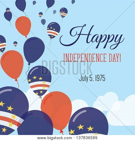 Independence Day Flat Greeting Card. Cape Verde Independence Day. Cape Verdian Flag Balloons Patriot