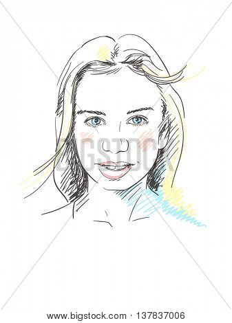 Face of beautiful young girl, Hand drawn illustration, Vector sketch