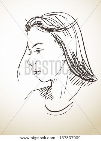 Portrait of beautiful young girl, Vector sketch, Hand drawn illustration