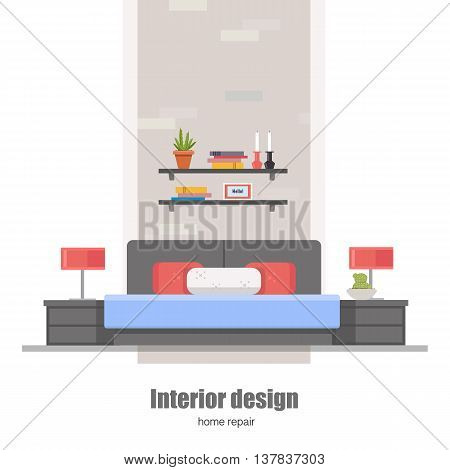 Bedroom interior. Home Interior design concept made in modern flat style.Can be used for infographics design, web elements.