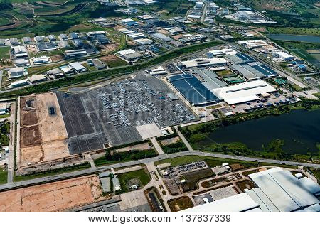 Industrial estate land development earthmoving and construction aerial view