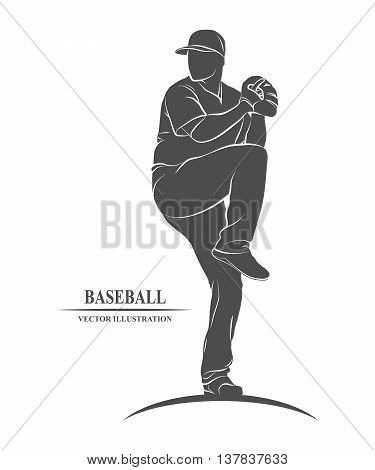 Icon baseball player in the cast. Vector illustration.