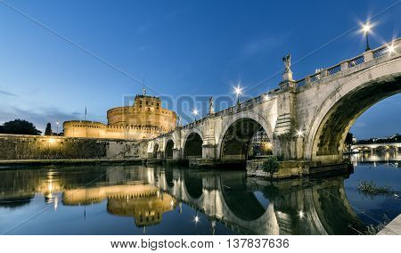 Rome sunset, Tevere river bridge under Castel Santangelo