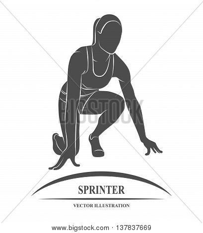 Icon sprinter at the start. Vector illustration.