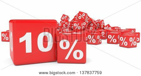 Red Sale Cubes. Ten Percent Discount.