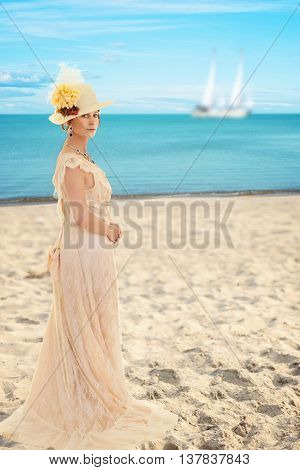 portrait of victorian woman at the beach
